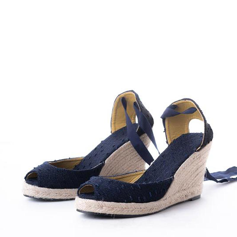 Daily Schedule Lace Up Espadrilles (Navy Linen)