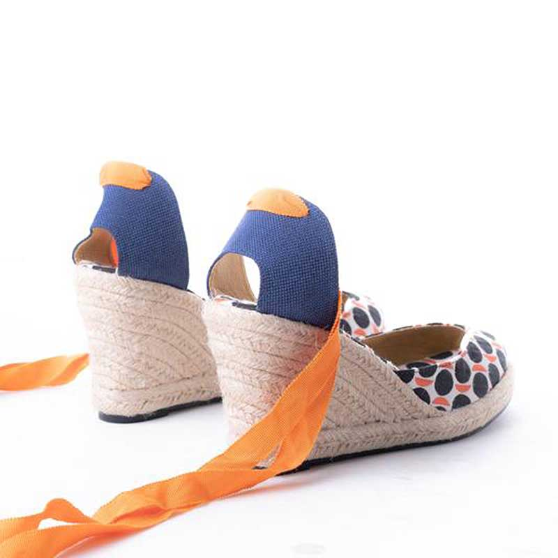 Daily Schedule Lace Up Espadrilles (Orange Circle)
