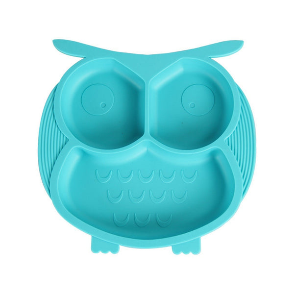 Owl Silicone Plate with Anti-Spill Suction Base (Blue)