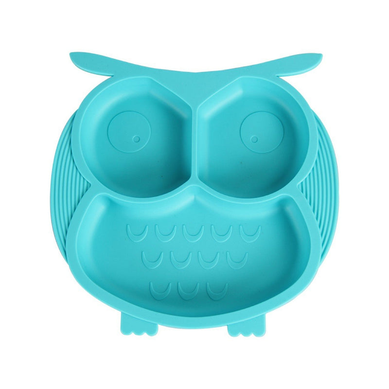Owl Silicone Plate with Anti-Spill Suction Base