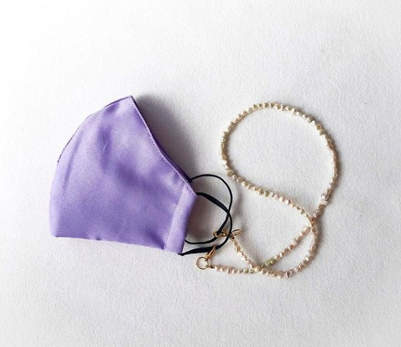 Delilah Lavender mask with freshwater pearls beads holder