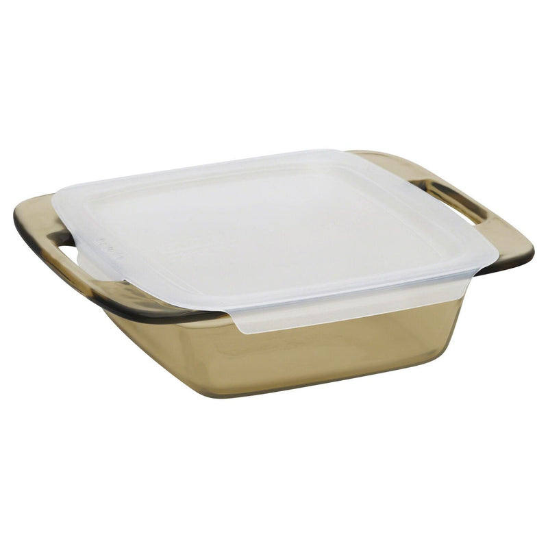 "Pyrex® Easy Grab 8"" Amber Glass Square Baking Dish with Lid"