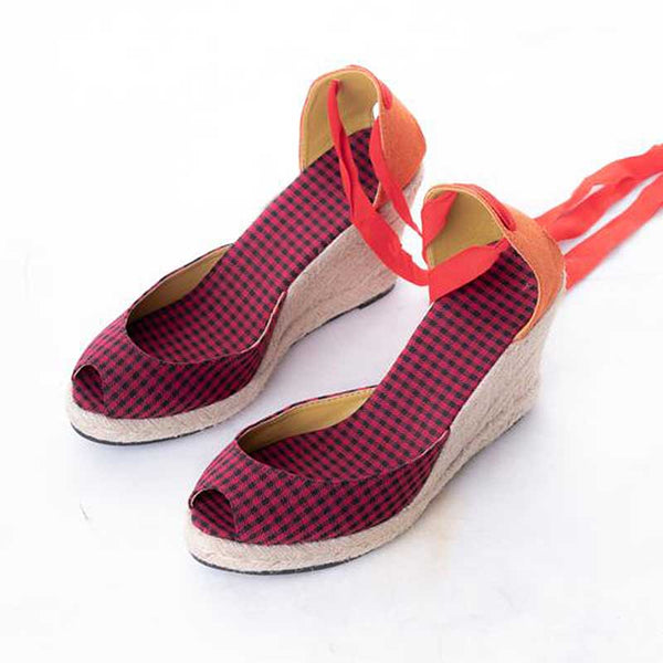 Daily Schedule Lace Up Espadrilles (Checkered Red)