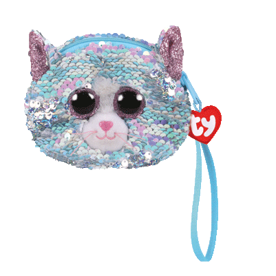 Ty Beanie Babies - Whimsy Reversible Sequin Cat Wristlet