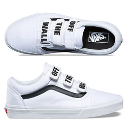 Vans Men's Old Skool Velcro Strap Off The Wall Canvas Sneaker Skate Shoes | Black/White
