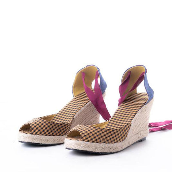 Daily Schedule Lace Up Espadrilles (Checkered Yellow)