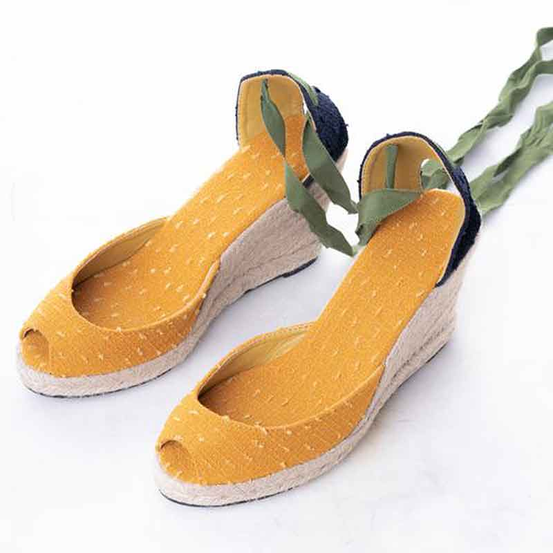 Daily Schedule Lace Up Espadrilles (Yellow Linen)