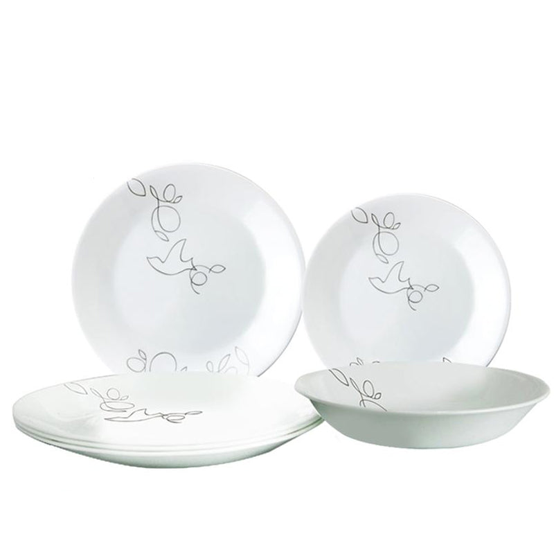 Corelle Morning Breeze Dinner Plate 27cm (Set of 4) with 2 pcs 21 cm Soup Plate