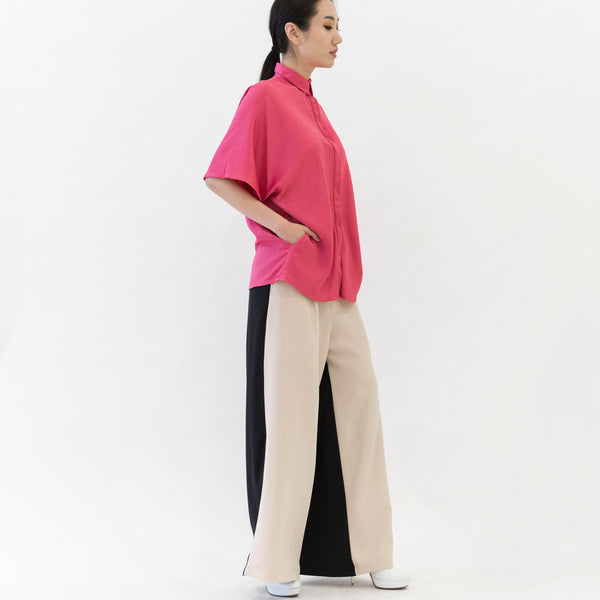 Canvas Odette Two-Tone Wide Leg Pants in Camel and Black