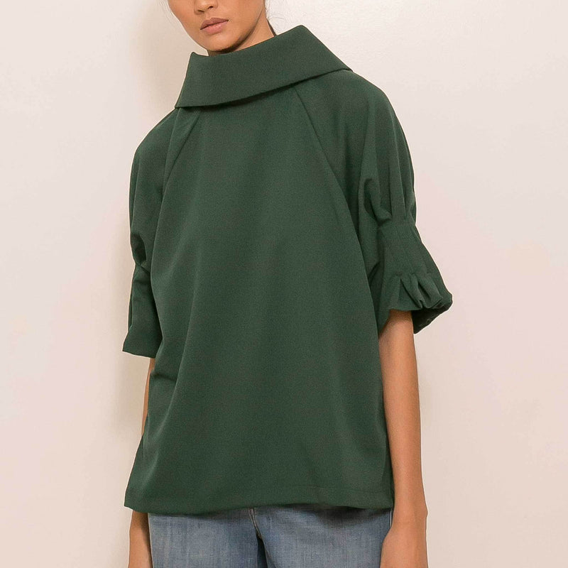 Canvas Alby Top in Dark Emerald