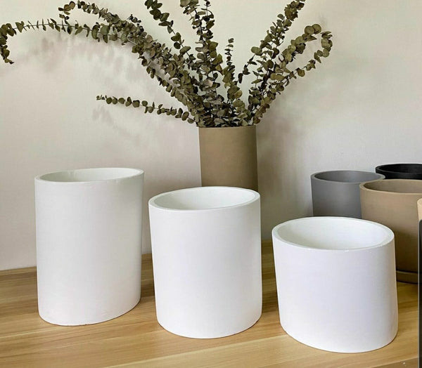 "Modern Pots Ph Cylinder Concrete Pot - 8"" x 6"""
