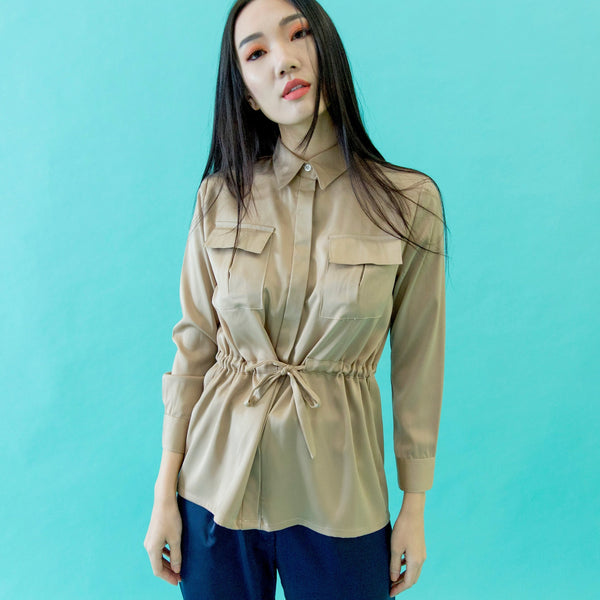 Canvas Audrey Safari Top in Gold