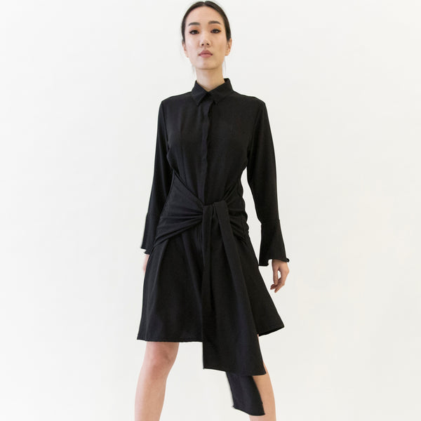 Canvas Orella Tie-Knot Dress in Black