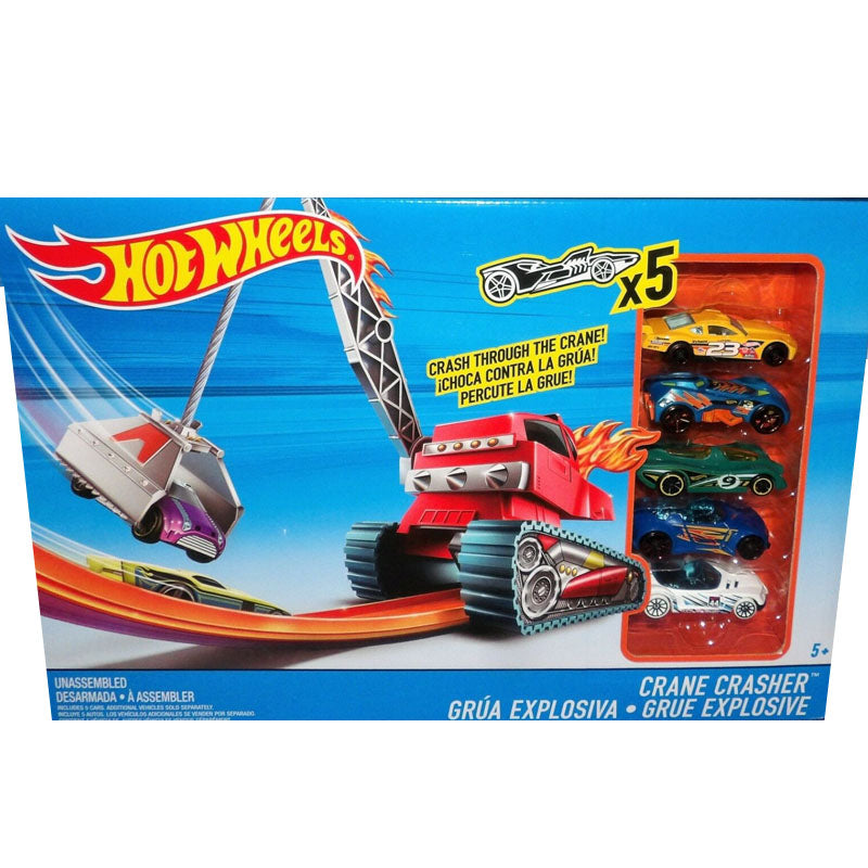 Hot Wheels Crane Crasher Play Set + Vehicles