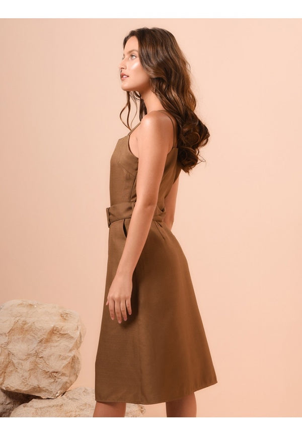 RAF Valor sleeveless dress in Brown
