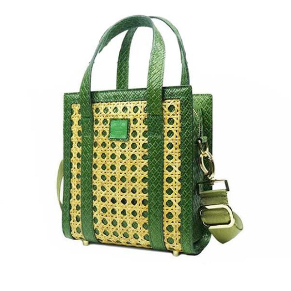 Orias x Chimes Exclusive Solihiya Square Green Weave Tote Bag