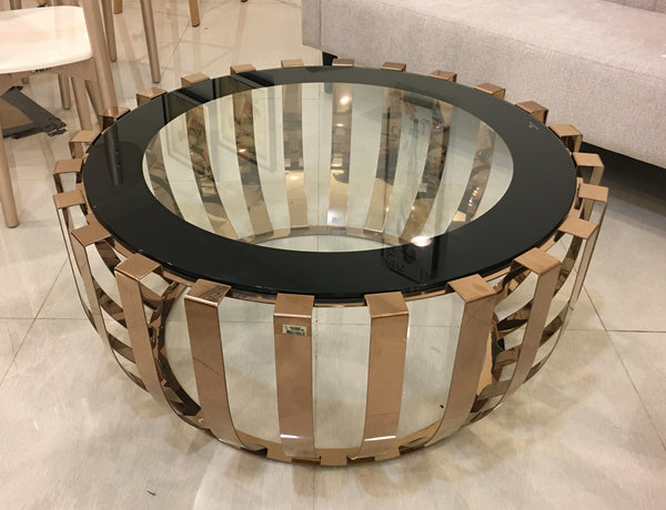 Round Glass / Brass Center Table
