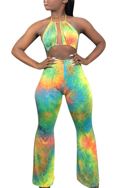 Jagged Chest Tie Dyed Jumpsuit
