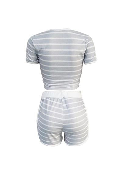 Striped Casual 2PCS Suit