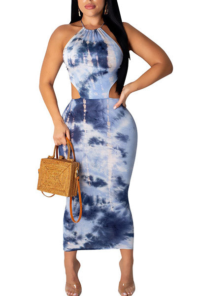Printed Backless Sling Dress