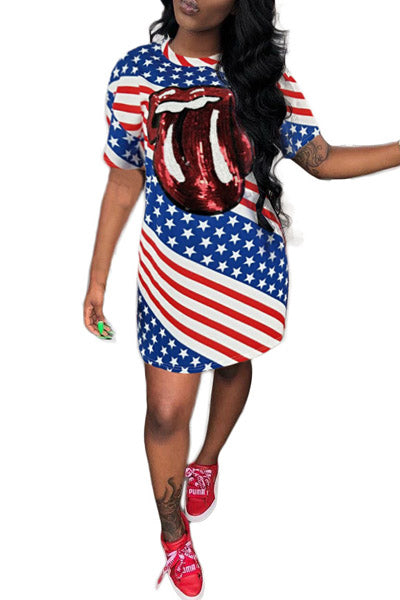 Big Tongue American Flag Dress