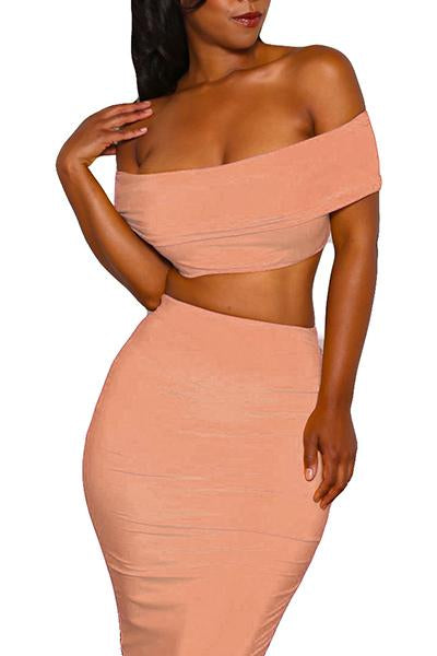 Solid Color Sexy Strapless 2PCS Skirt