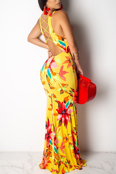 V-neck Backless Printed Dress