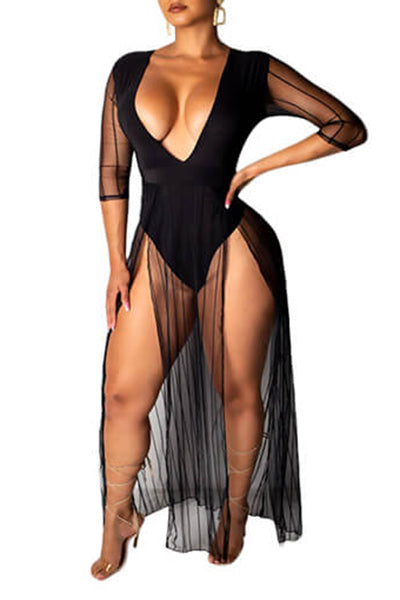 Mesh Split Jumpsuit