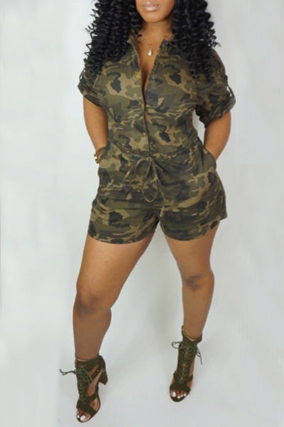 Camouflage Short Sleeve Jumpsuit