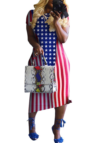 Flag Printed Short Sleeve Dress