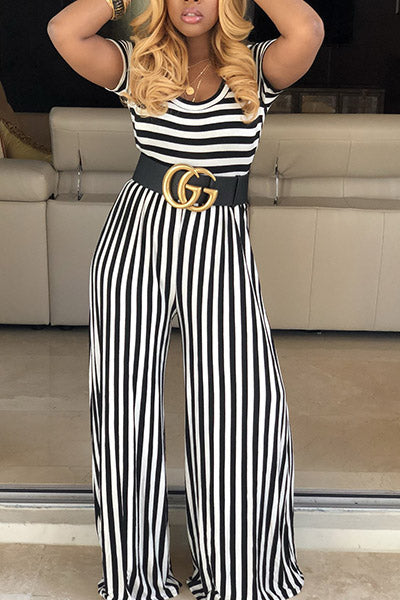 Striped Short-sleeved Jumpsuit