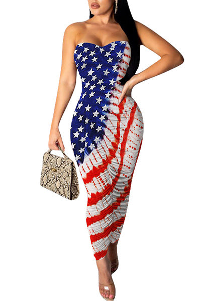 Independence Day Strapless Printed Dress