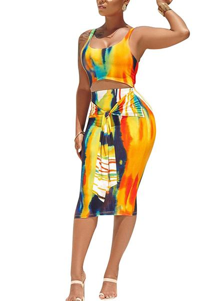 Sling Printed 2PCS Skirt