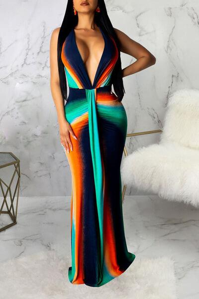 V Neck Sleeveless Floor Length Maxi Dress