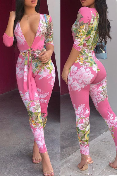 Deep V Printed Jumpsuit