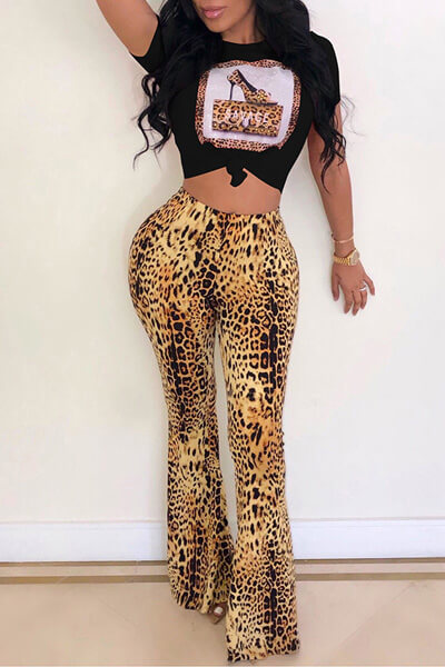 Leopard Shirt Flare Pants 2PCS Suit