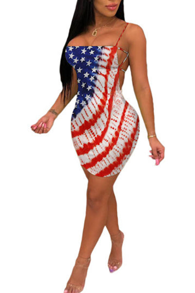 Flag Printed Backless Dress