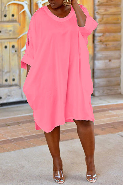 Loose Solid Color Dress