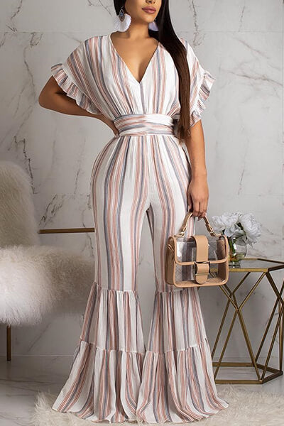 Printed Striped Jumpsuit