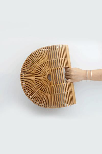 Hollowed Semicircular Bamboo Bag