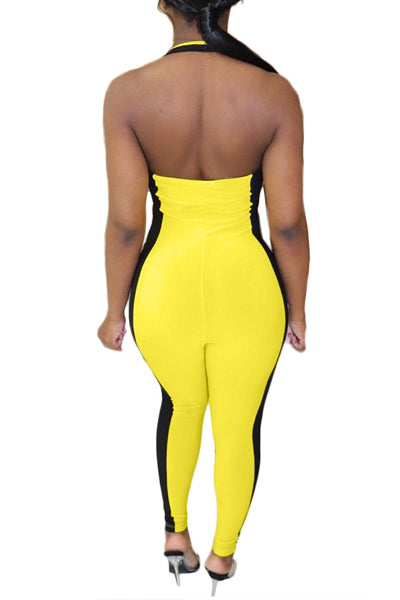 Deep V Color Matching Jumpsuit