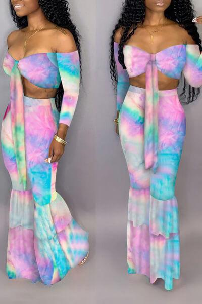 Strapless Colorful Flare 2PCS Suit