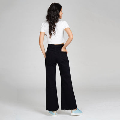 Ankle Crop Wide Leg Black High Waist Jeans Jeans Madish