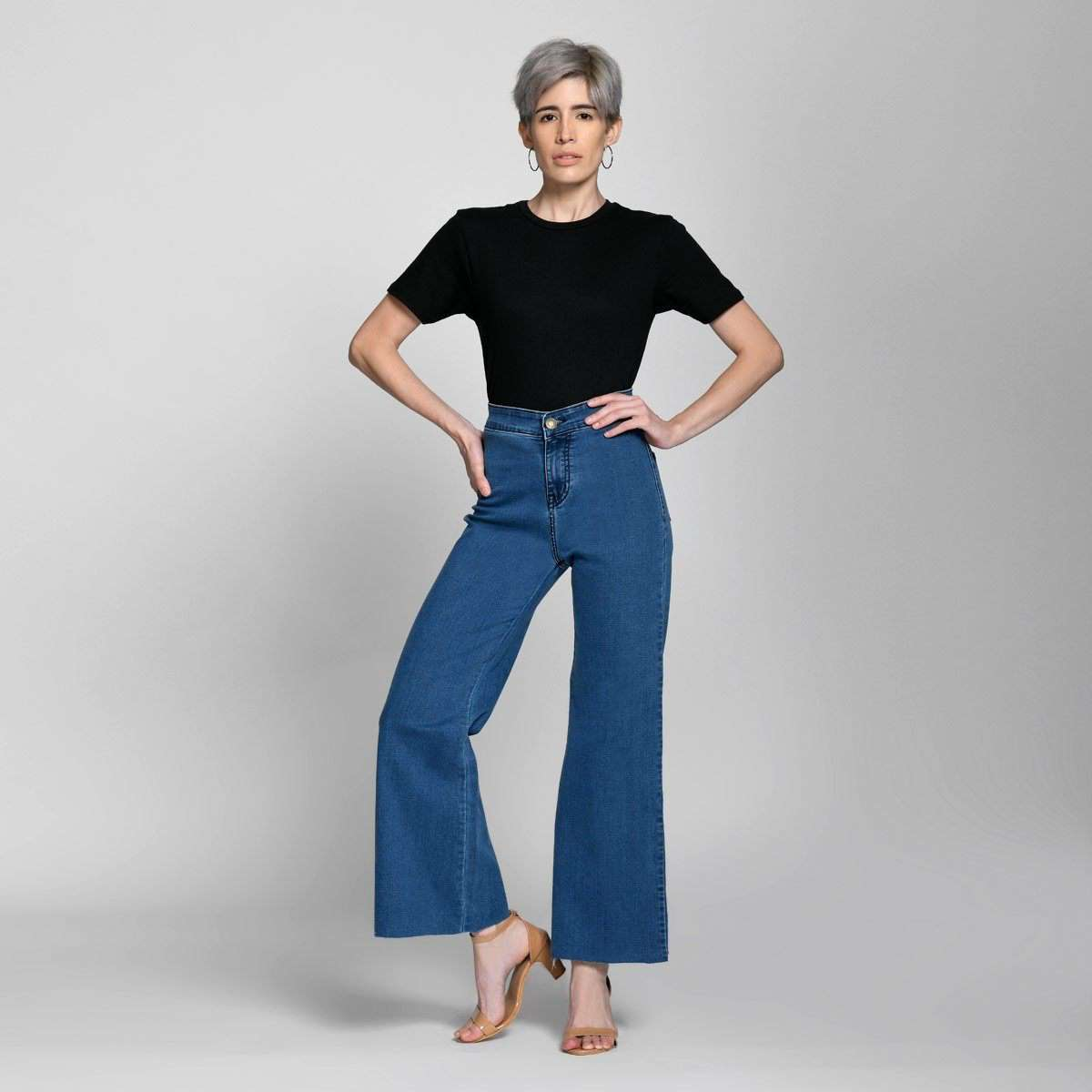 Ankle Crop Wide Leg Mid Blue High Waist Jeans Jeans Madish