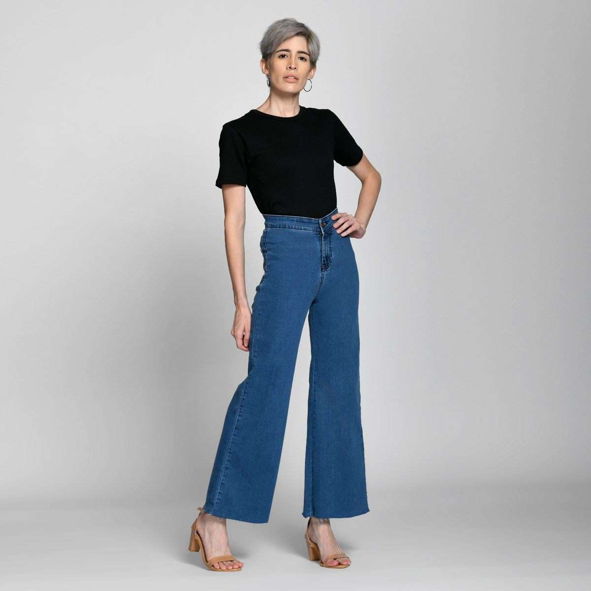 Ankle Crop Wide Leg Mid Blue High Waist Jeans by Madish