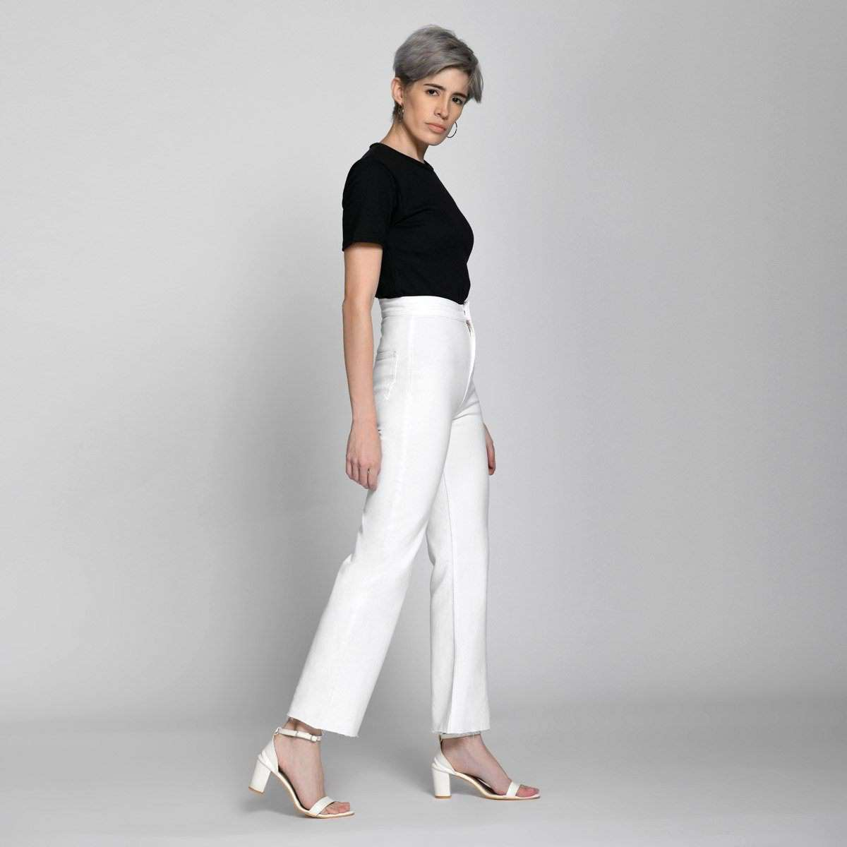 Ankle Crop Wide Leg White High Waist Jeans by Madish