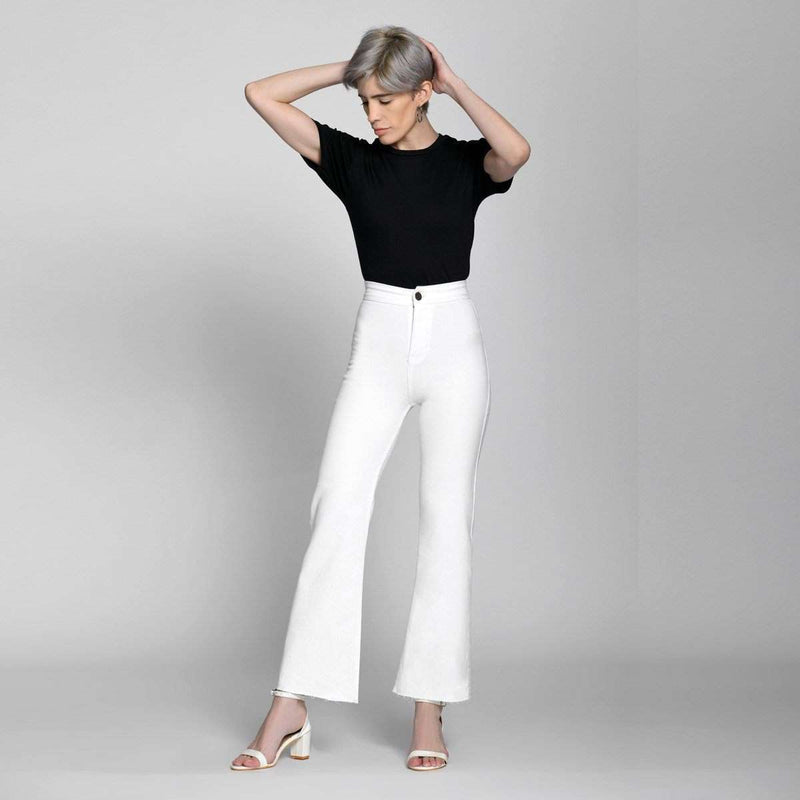 Ankle Crop Wide Leg White High Waist Jeans Jeans Madish