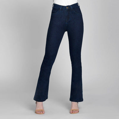 Boot Cut Deep Blue High Waist Jeans Jeans Madish