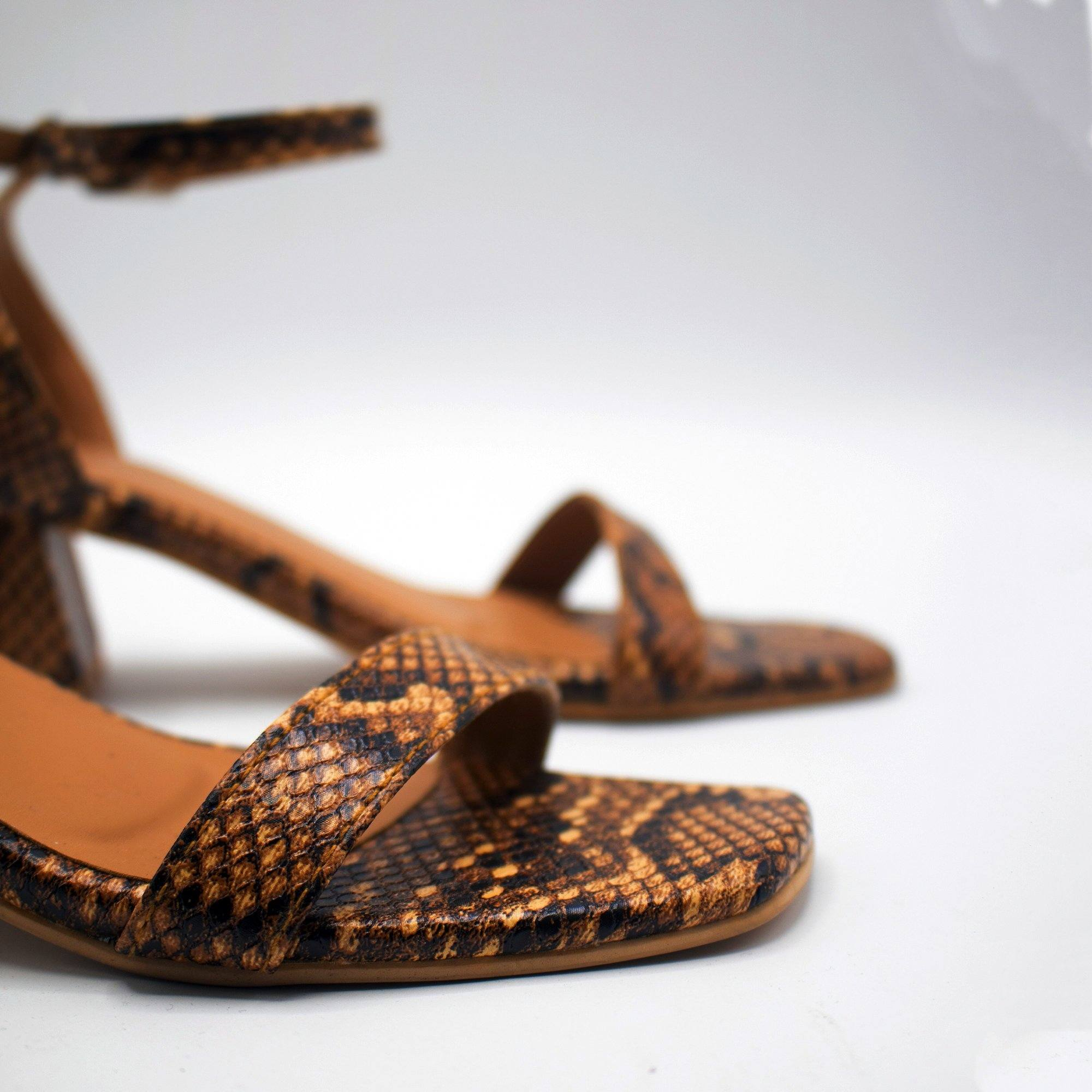 Caramel Snake Low Block Heels by Madish