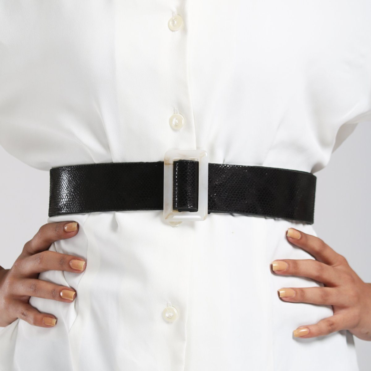Glossy Black Python Belt Accessories Madish